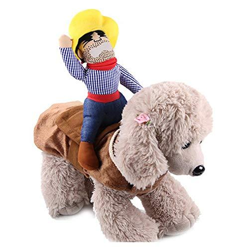 LCPET Halloween lustige Haustier Kostüm Neuheit Heimtierbedarf Cowboy Reiter Reiten Bekleidung Dress Up Dekoration Prop Spielzeug für Katze Hund Welpe,M (Dressup Kind Cowboy Kostüm)
