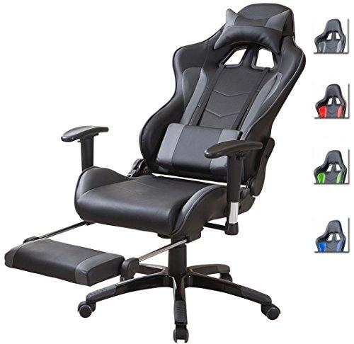 Delman Racing Bürostuhl Gaming Chair Schreibtischstuhl Drehstuhl Sportsitz Ergonomischer PU Leder Höhenverstellbar mit Armlehnen mit Fußablage Fußstütze 02-1004 (Schwarz-Grau-FR) -