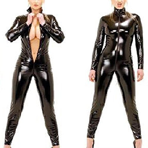 ener Cosplay Kostüm Damen Catwoman PVC Glanz Wetlook Leder Clubwear Body Hosenanzug Playsuit Jumpsuit Bodysuit Schwarz,XXXL ()