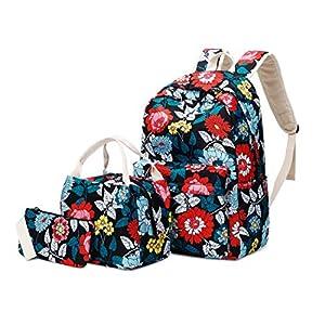 51 4v9XtGOL. SS300  - Joymoze Mochila Escolar para Niña Adolescente con Bolsa Térmica para el Almuerzo y Estuche Flor Azul