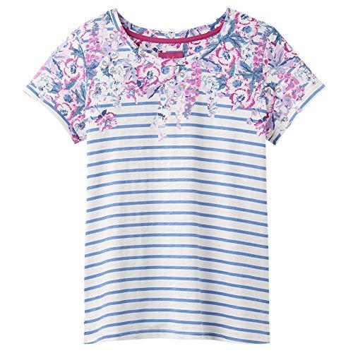 joules Nessa Print Lightweight Jersey T-Shirt - SS19 Blue Stripe Floral Border 10 -