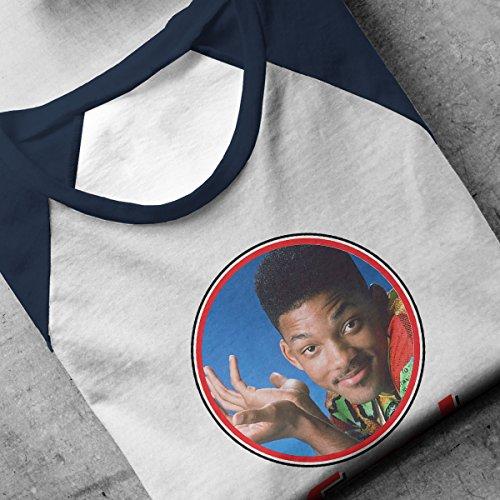 Fresh Prince Of Bel Will Smith Retro Photo Frame Men's Baseball Long Sleeved T-Shirt White/Navy