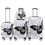 Reisekoffer 2060 Hartschalen Trolley Kofferset in 12 Motiven SET--XL-L--M-- Beutycase (Butterfly, 4er Set(XL+L+M+Beatycase))