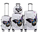 Reisekoffer 2060 Hartschalen Trolley Kofferset in 12 Motiven SET--XL-L--M-- Beutycase (Butterfly, 4er Set(XL+L+M+Beatycase))