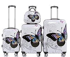Idea Regalo - Set valigie rigide tipo trolley in policarbonato, 3 misure diverse o 4 (beauty-case incluso), 12 fantasie diverse, 2060
