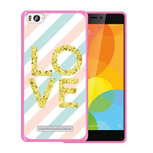 Xiaomi Mi 4c Hülle, WoowCase Handyhülle Silikon für [ Xiaomi Mi 4c ] Liebe Streifen Handytasche Handy Cover Case Schutzhülle Flexible TPU - Rosa