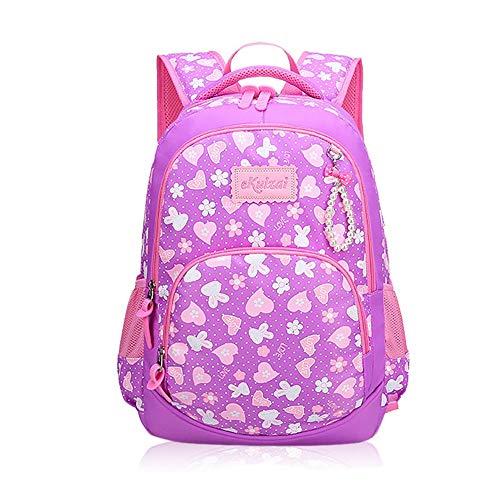 Owenyang Schultasche Rucksack Schulrucksack Hearts Print Schulrucksäcke für Mädchen Kinder Grundschulen Taschen Bookbag Schüler Jungen Mädchen Tasche (Farbe : Lila, Größe : 41 * 28 * 14cm)
