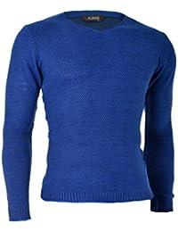 D&R Fashion Hommes Sweatshirt Pull Pull à encolure en V Coupe Classique Slim Fit Les vêtements d'hiver