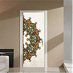 swsongx 3D Pegatinas De Puertas Delicate Design of A Half Mandala Flower Oil Paintting Wall Sticker Wallpaper Door Stickers Home Decor77x200cm