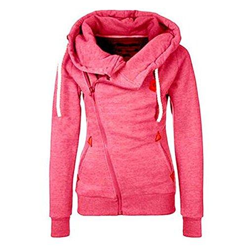 frauen-lange-armel-mit-reissverschluss-crossing-neck-mit-kapuze-slim-fit-einfarbig-sweatshirtsmpink
