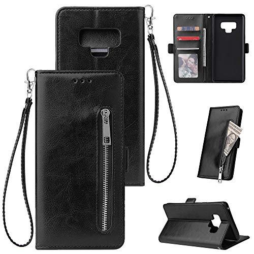 FNBK Kompatibel mit Hülle Samsung Galaxy Note 9 Handyhülle Leder Handytasche Reißverschluss Brieftasche Flip Case Slim Luxus Schutzhülle Handschlaufe Kredit Karten Magnetische Ständer,Schwarz - Netzkabel Reißverschluss