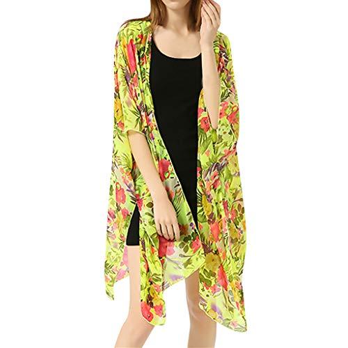 TianWlio Damen Badeanzug Cover Up Bikini Badeanzug Bademode Häkeln Kleid Gelb One Size -
