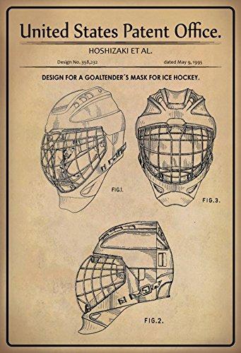 United States Patent Office - Design for a Goaltenders Mask Ice Hockey - Entwurf für ein Torhütermaske für Eishockey - Hoshizaki - Design No 358232 - 1995 - schild aus blech, metal sign, tin