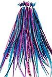 20 Lang Haarverlängerung, natürliche Federn mit Ringe & Anwendung Loop (BEERE)
