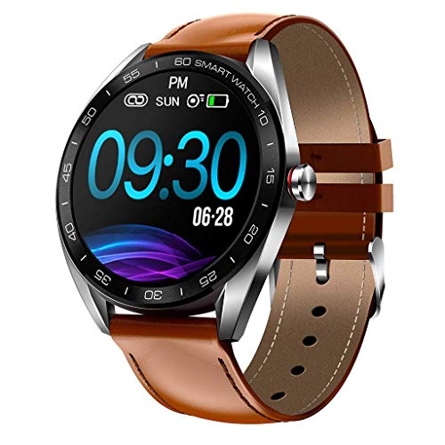 OPTA SB-131 Leather Tolkien Bluetooth Fitness Smart Watch with IP68 Grade | All Day Heart Rate and Activity Tracking Smart Band for Android & iOS, Medium (Brown)
