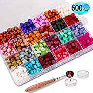 600PCS Sealing Wax Beads Packed in Plastic Box, with 2PCS Tea Candles and 1 PC Wax Melting Spoon for Wax Seali