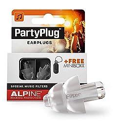 Alpine PartyPlug Ohrstöpsel - Party, Musikfestivals und Konzerte sicher genießen - Hohe Musikqualität - Bequemes hypoallergenes Material - Wiederverwendbare Ohrstöpsel - Transparent