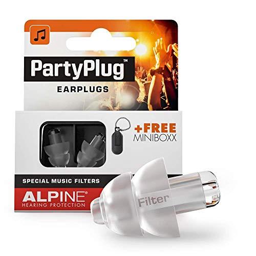 Tappi Alpine PartyPlug - Goditi le feste, i festival e i concerti in sicurezza - ottima qualità della musica - materiale ipoallergenico confortevole - tappi riutilizzabili - Trasparent