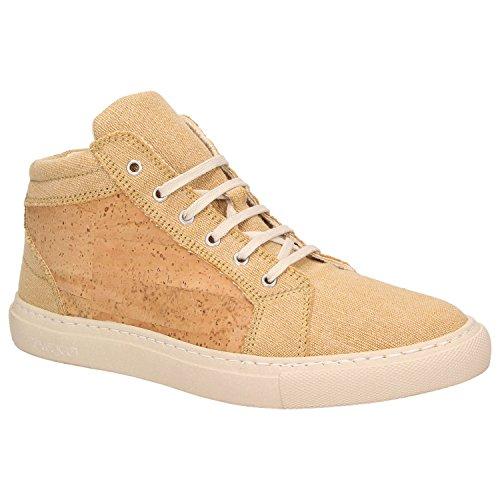 ZWEIGUT® -Hamburg- echt #404 Herren High-Top Kork Schuhe Freizeit Sneaker vegan und nachhaltig, Schuhgröße:41, Farbe:sand-kork