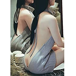 Women's Jysport Backless Open Back Jumpsuit Sleeveless Backless Turtleneck Knitted Pullover Sweater by JYSPORT