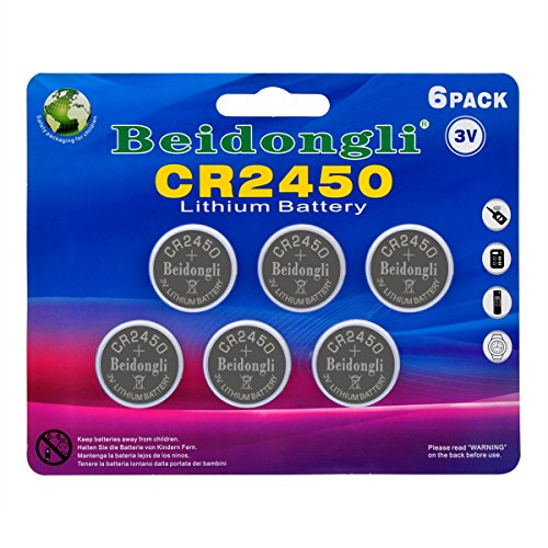 CR2450 3v lithium battery button coin cell battery for watches calculators led candles (6pack) -