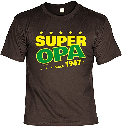 Cooles T-Shirt zum 70. Geburtstag Super Opa Since 1947 Geschenk 70. Geburtstag 70 Jahre Geburtstagsgeschenk Geschenk Opa Oma Großeltern Braun