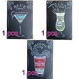 Lumanuby Gemalt Cocktail Plakat Set für die Bar 3pcs Vintage Schild von 'Blue Lagoon, Pina Colada, Bloody Mary' Deko Wandschild Metall für Pub/Bar, Bar Sprüche Serie Size 20*30cm