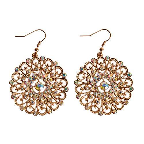 Runde goldene Ohrringe für Mädchen, Geburtstagsparty, Kreise, Kristall, Schmuck Geschenk -