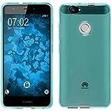 PhoneNatic Case für Huawei Nova Hülle Silikon türkis transparent Cover Nova Tasche + 2 Schutzfolien