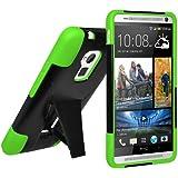 Amzer Schutzhülle für HTC One Max (doppelschichtig, mit Ständer) Schwarz / Neongrün preiswert