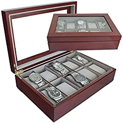 Limited Edition Mele & Co Luxury Walnut Wood 10 Watch Display Case Storage Box Wooden Watchbox with Grey Interior