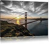 Gigantische Golden Gate Bridge in San Francisco Schwarz/Weiß, Format: 120x80 auf Leinwand, XXL riesige Bilder fertig gerahmt mit Keilrahmen, Kunstdruck auf Wandbild mit Rahmen, günstiger als Gemälde oder Ölbild, kein Poster oder Plakat