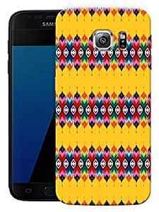"""Humor Gang Traditional Ethnic Pattern Yellow Printed Designer Mobile Back Cover For """"Samsung Galaxy S7"""" (3D, Matte Finish, Premium Quality, Protective Snap On Slim Hard Phone Case, Multi Color)"""