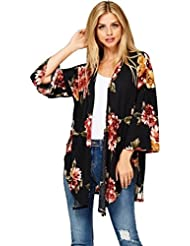 FEITONG Chaleco flojo de la impresión floral de las mujeres Chaqueta de kimono Cubierta superior encima de la camisa Blusa