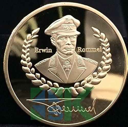 Münze Erwin Rommel, Deutsche Wehrmacht, Wüstenfuchs, vergoldet