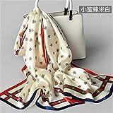 Hunt PowerBufanda de seda 100% para mujer Marca de lujo 2019 Mantones y envolturas de seda pura Hangzhou para damas Bufandas de seda real con estampado de fular natural,K11,200 * 55cm