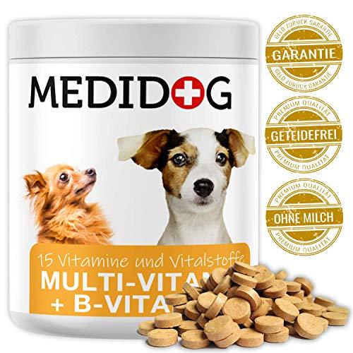 Medidog Premium Multivitamin Tabletten (300 Stück) für alle Hunde, 15 Vitamine + Vitamin-B Komplex für Fell und Haut + Kalzium, Biotin, Folsäure, Inositol, Cholin, Pantothensäure -