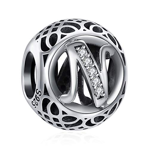 s für Herren 925 Sterling Silber Passend für Armband Halskette, Namekette, Kommt in Geschenkbox, Nickelfrei 26 Buchstaben DIY Serie ()