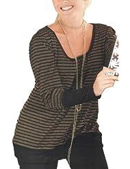 adonia mode Edles Tunika-Shirt Feinstrick Lurex , Gr. 44/46 - 56/58