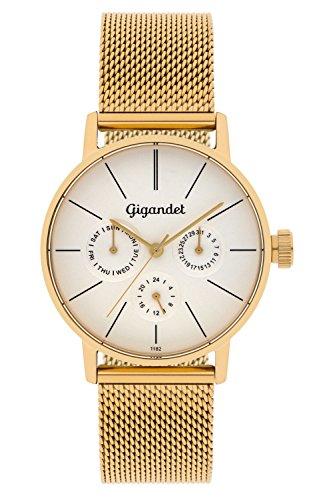 Gigandet G38–007–Orologio da donna, cinturino in acciaio inox colore oro