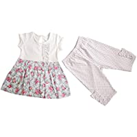 Aikobaby del bambino del manicotto della ragazza Breve stampa floreale 2pcs dei bambini stabiliti dei vestiti Suit Top & Pants