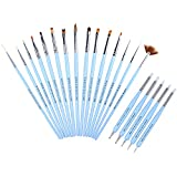 Ejiubas 20 Pcs Nail Polish Brush Set Detail Paint Brushes Liner Drawing Pen Dotting Tools Silicone Clay Tools...