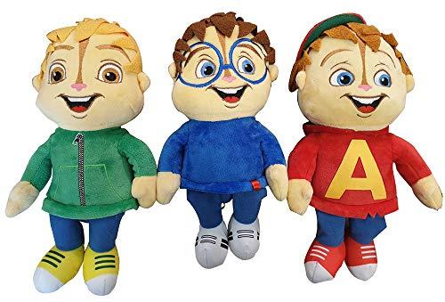 Alvin und die Chipmunks Alvin, Simon & Theodor 3er Set Plüschfiguren, Kuscheltiere, Plüschtiere 30cm, für Kinder (Alvin Chipmunks Spielzeug)