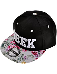 ZYLC Flatcap / Baseballmütze, für Damen, Blumenmotiv, neonfarben, bedruckt, größenverstellbar durch Druckknopflasche