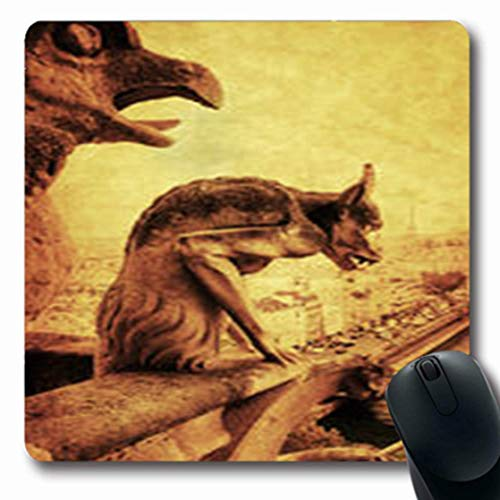 Luancrop Mousepads Notre Weinlese-Art-Wasserspeier, der Dame Aerial Oblong Gaming Mouse Pad-rutschfeste Gummimatte übersieht