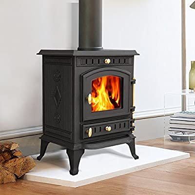 "Lincsfire Navenby JA010 7.5KW Type A Multifuel Woodburning Stove Wood Burner Log Burning Woodburning Cast Iron Fire Fireplace + One Free 5"" Flue Pipe"