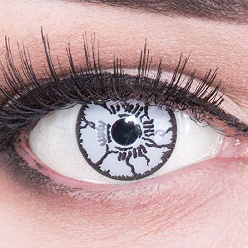 (Meralens Farbige schwarz / weiße Crazy Fun Kontaktlinsen White Monster mit gratis Linsenbehälter + 60ml Pflegemittel, Topqualität zu Fasching, Karneval und Halloween)