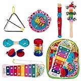 The Twiddlers 10 Piezas de Instrumentos Musicales de Madera - Juego de Mini Bandas de percusión para músicos bebés - Juguetes educativos, Cumpleaños niños de Todas Las Edades, niños y niñas