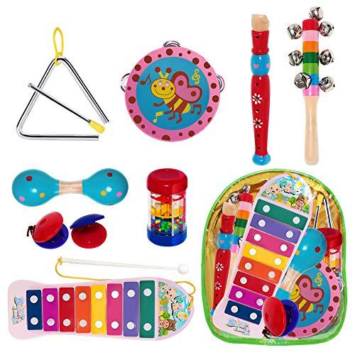 The Twiddlers 10 Schlagwerk Musikinstrumente - Holz Percussion Rhythmus Xylophon Tamburin Flöte Mini-Band-Set Lern-Spielzeug Baby Kinder-Geburtstags Klein Geschenke Schlag Instrument Musikalisches