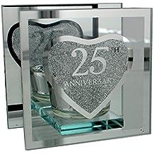 25esimo anniversario di nozze d' argento portacandele regalo